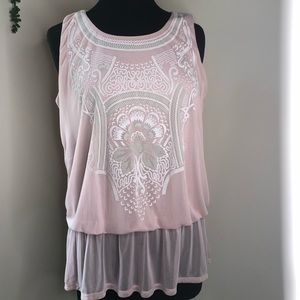 G. Collection pink sleeveless sheer peplum blouse